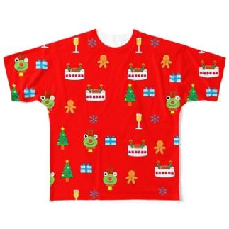 かえるさんのクリスマス(赤) Full graphic T-shirts