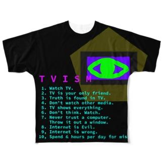 TV信奉者を揶揄してやりましょう Full graphic T-shirts