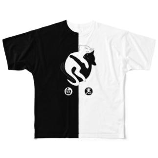 ''白黒猫ちゃん'' (前後2面プリント)  Full graphic T-shirts