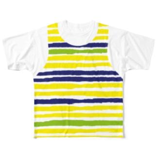 ボーダー柄 レイヤード(前後2面プリント) Full graphic T-shirts
