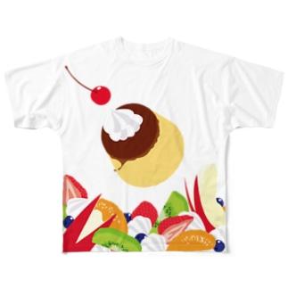 フォーリングプリンアラモード Full graphic T-shirts