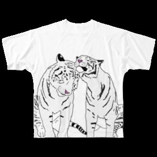 Zoo Keeperの仲良しホワイトタイガー❤️ Full graphic T-shirts