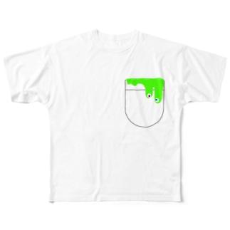 スライムモンスター ぽっけ らいむいろ Full graphic T-shirts