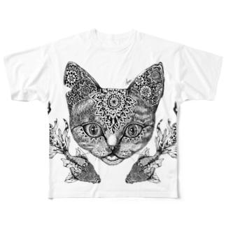 猫と金魚 Full graphic T-shirts