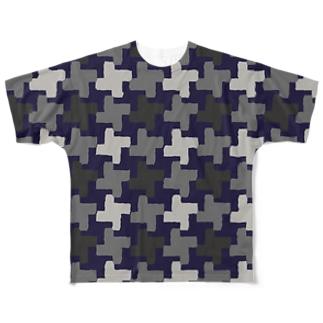 千鳥格子 迷彩中柄(前後2面プリント)  Full graphic T-shirts
