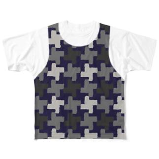 千鳥格子レイヤード 迷彩 大柄(前後2面プリント)  Full graphic T-shirts