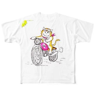 ほのぼの猫  ねこ と バイク Full graphic T-shirts