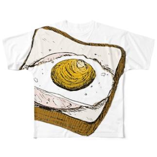 ハムエッグのせ Full graphic T-shirts