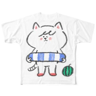 ポシェットにゃんこ協会 Full graphic T-shirts