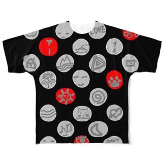 水玉 (前後2面プリント) Full graphic T-shirts