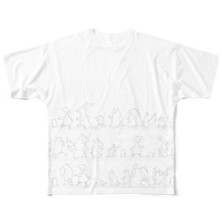 さんぽダンス グレーライン Full graphic T-shirts