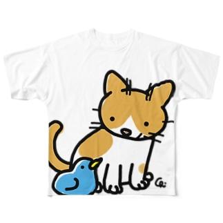 とりとねこ Full graphic T-shirts