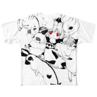 うさぎに囲まれた過労きつねちゃんT Full graphic T-shirts