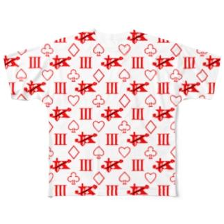 エンペラーグッズ レッド Full graphic T-shirts