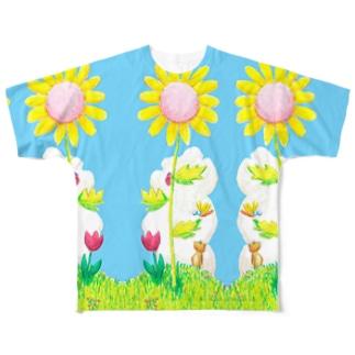 ひまわり 両面みずいろ Full graphic T-shirts