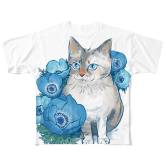 ブルーアネモネ(正面プリント) Full graphic T-shirts