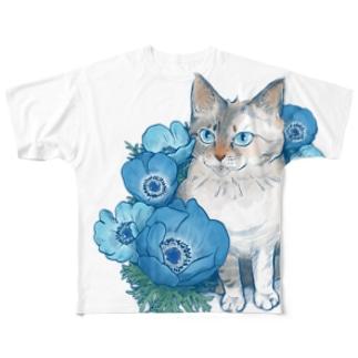 ブルーアネモネ(正面やや端っこプリント) Full graphic T-shirts