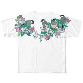 文鳥 ・サンパラソル Full graphic T-shirts
