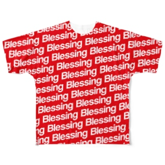 Blessing 総柄Logo T/White×Red Full graphic T-shirts