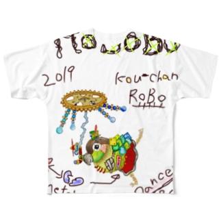 ROBOBO ウロコインコ「コウちゃんロボ」 Full graphic T-shirts