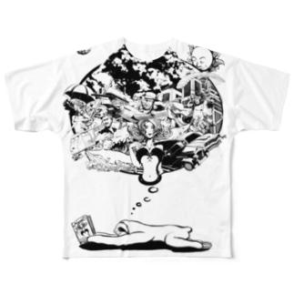 なまけものの夢 モノクロ Full Graphic T-Shirt