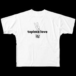 USAGI DESIGN -emi-のタピオカlove.ウサギ Full graphic T-shirts
