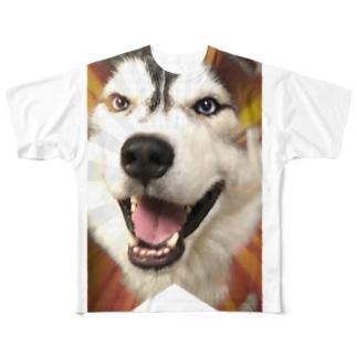 ハスキー タペストリー Full graphic T-shirts