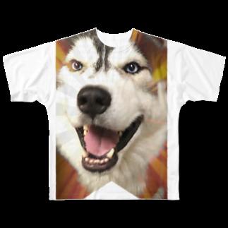 Dream Dog World 【夢犬】のハスキー タペストリー Full graphic T-shirts
