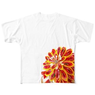赤花咲いた Full graphic T-shirts
