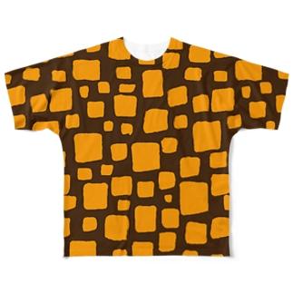 ゴータ・ワイのキューブ (前後2面プリント)  コーヒーブラウン/イエロー Full graphic T-shirts