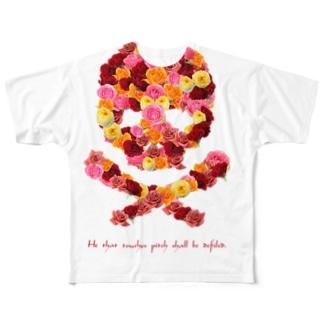 フラワードクロ(レッド) Full graphic T-shirts