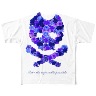 フラワードクロ(ブルー) Full graphic T-shirts