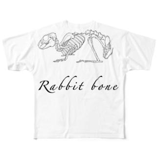 かわいいウサギの骨 Full graphic T-shirts