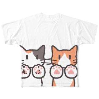猫のコロリン肉球みせて Full graphic T-shirts