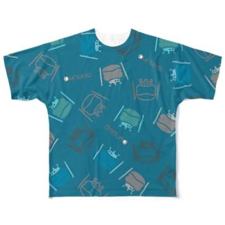 カエル ドラム ちりばめられたサブロー グリーン Full graphic T-shirts