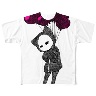 愛、苦しい キズねこ Full graphic T-shirts