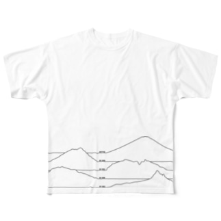 Japanese mountains B Full graphic T-shirts