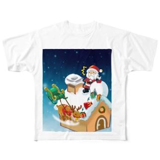 プレゼントを配るサンタクロース Full graphic T-shirts