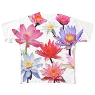 スイレンとハスの花 フルグラフィックTシャツ