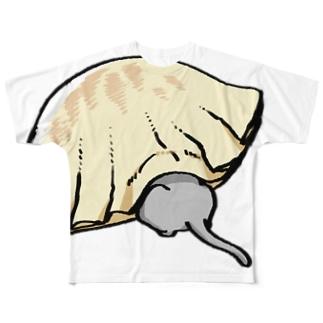 ねこと餃子 Full graphic T-shirts