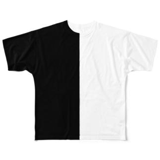 ブラック&ホワイト Full graphic T-shirts
