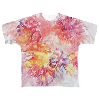 PinkFluidFlowers Full graphic T-shirts