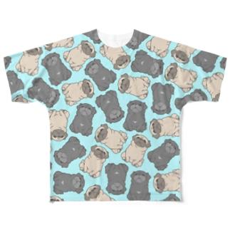 one-naacoのパグがみっちり。(水色) Full graphic T-shirts