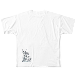 ArtSpringsの猫と少女 Full graphic T-shirts