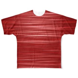 ジオメトリックな赤のボーダー Full graphic T-shirts