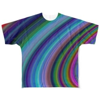 サイケデリックなカーブ Full graphic T-shirts