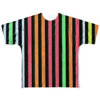 黒とカラフルなストライプ Full graphic T-shirts