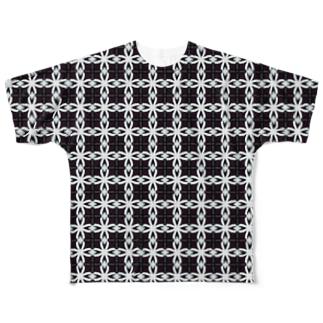 鎖みたいな柄のパターン Full graphic T-shirts