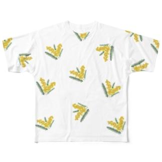オリジナルミモザランダムプリント Full graphic T-shirts