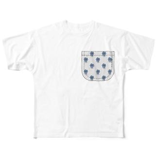 北欧風青い花柄ポケット Full graphic T-shirts